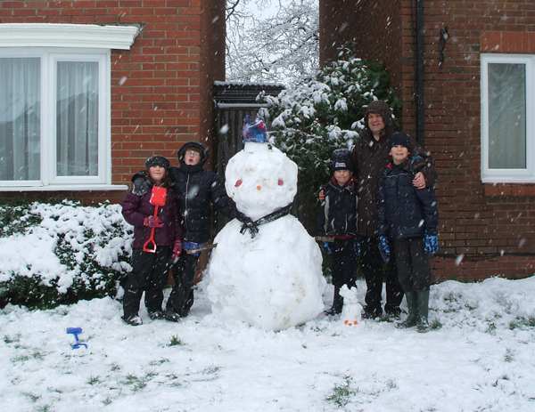 Daily Echo: Dave Brine with his family snowman.